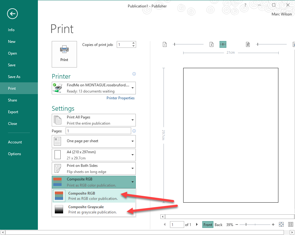 To Change The Publisher Document Between Greyscale And Colour You Need Switch Composite RGB In Settings